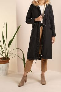 Hooded Furry Overcoat