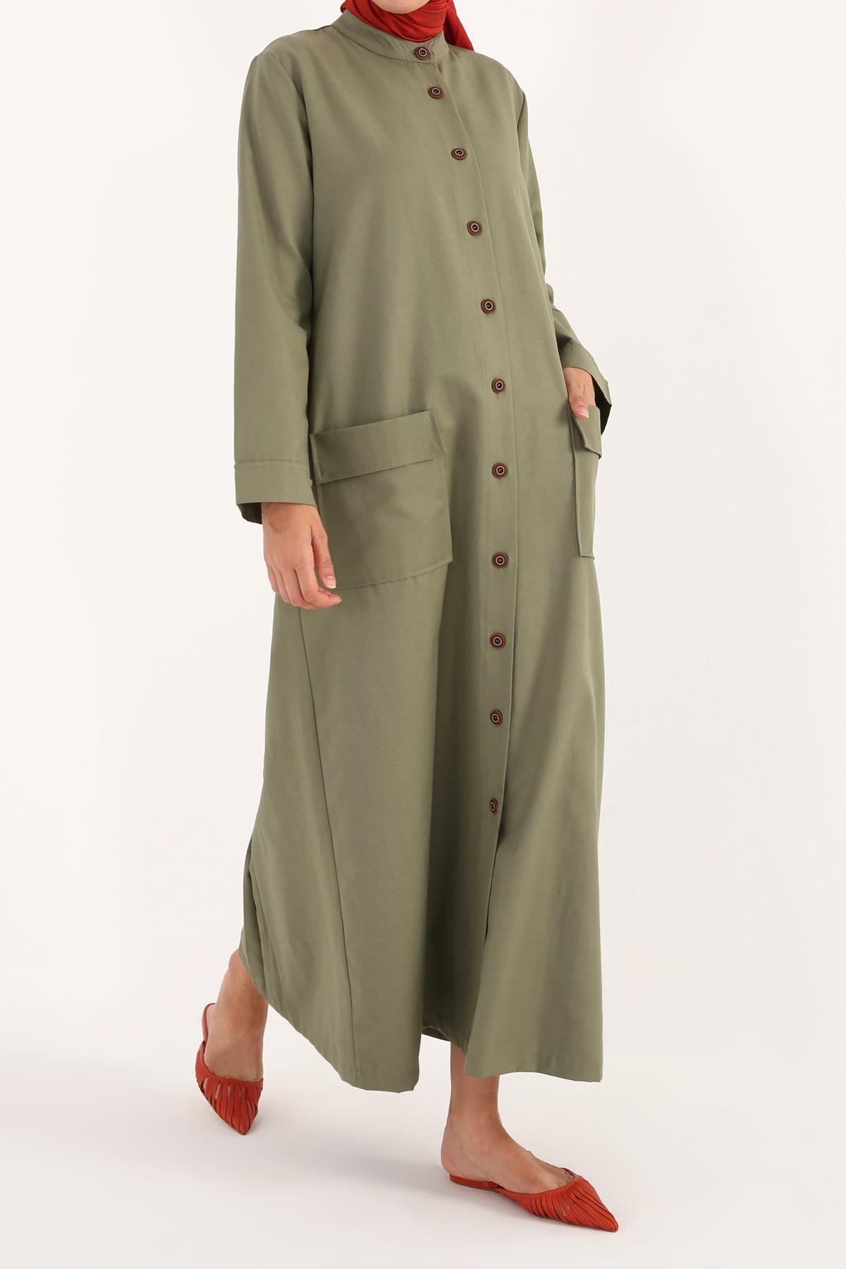 100% Cotton Button Front Epaulette Abaya