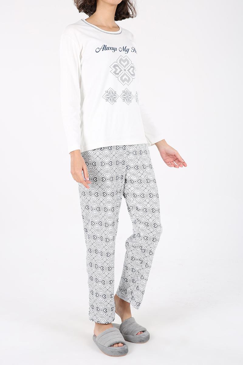 %100 Pamuklu Etnik Desenli Pijama Takımı