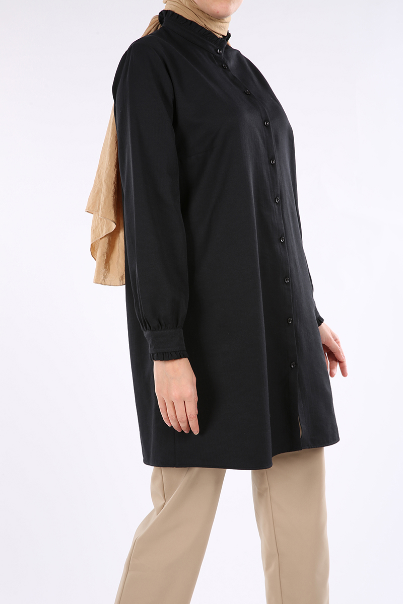 Yaka ve Kol Fırfırlı Gömlek Tunik