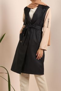 Pocket Buttoned Belted Trench Coat