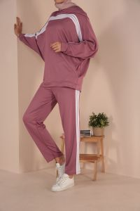 Hooded Pocket Elastic Waist Track Suit
