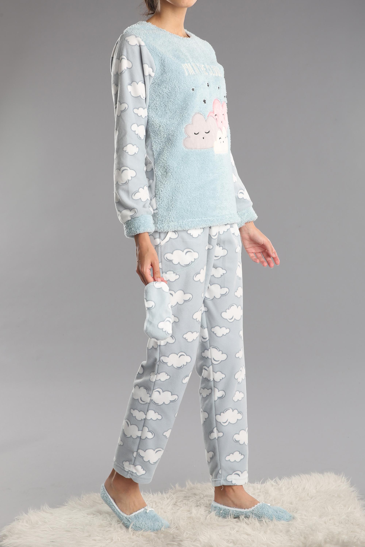 4 Parça Nakışlı Desenli Pijama Takımı