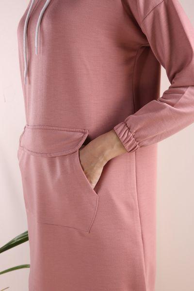 Kapüşonlu Bağcıklı Kanguru Cepli Sweatshirt