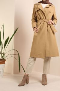 COMBED COTTON BELTED TRENCH COAT
