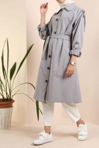 Belted Buttoned Trench Coat