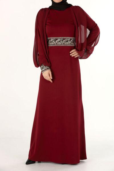 Bel ve Kol Detaylı Abiye Elbise