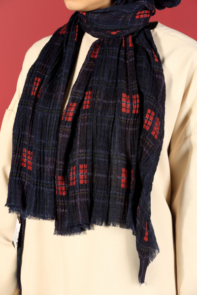 AKEL PLAID PATTERNED COTTON SHAWL
