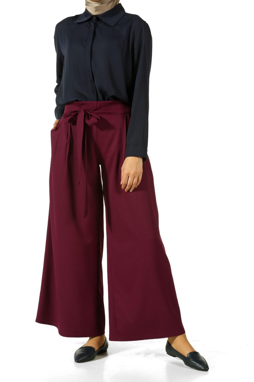 Hijab Elastic Waist Wide Leg Pants