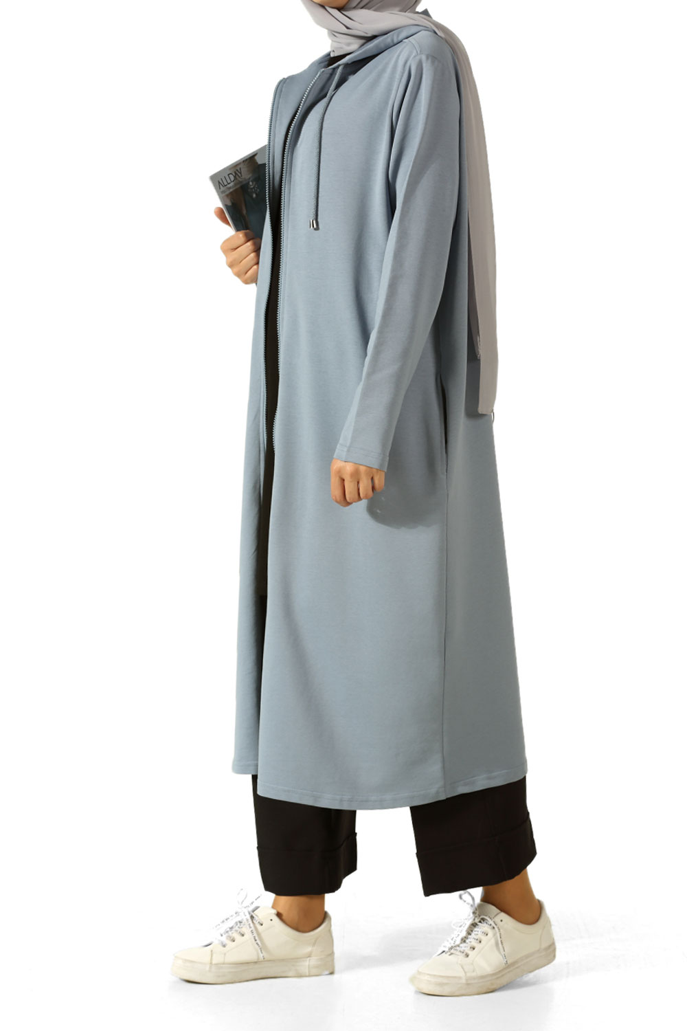 59a6709459f Blue Plus Size Hooded Tunic - BP51302