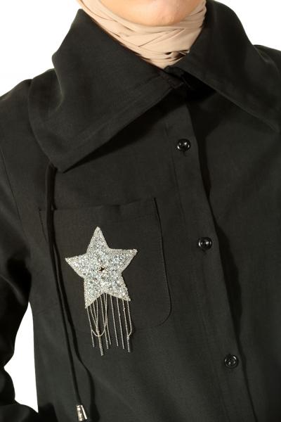 Armalı Düğmeli Gömlek Tunik