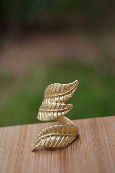 Artbutika Altın Kaplama Yaprak Yüzük