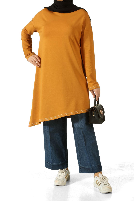 Asymmetric Combed Cotton Tunic