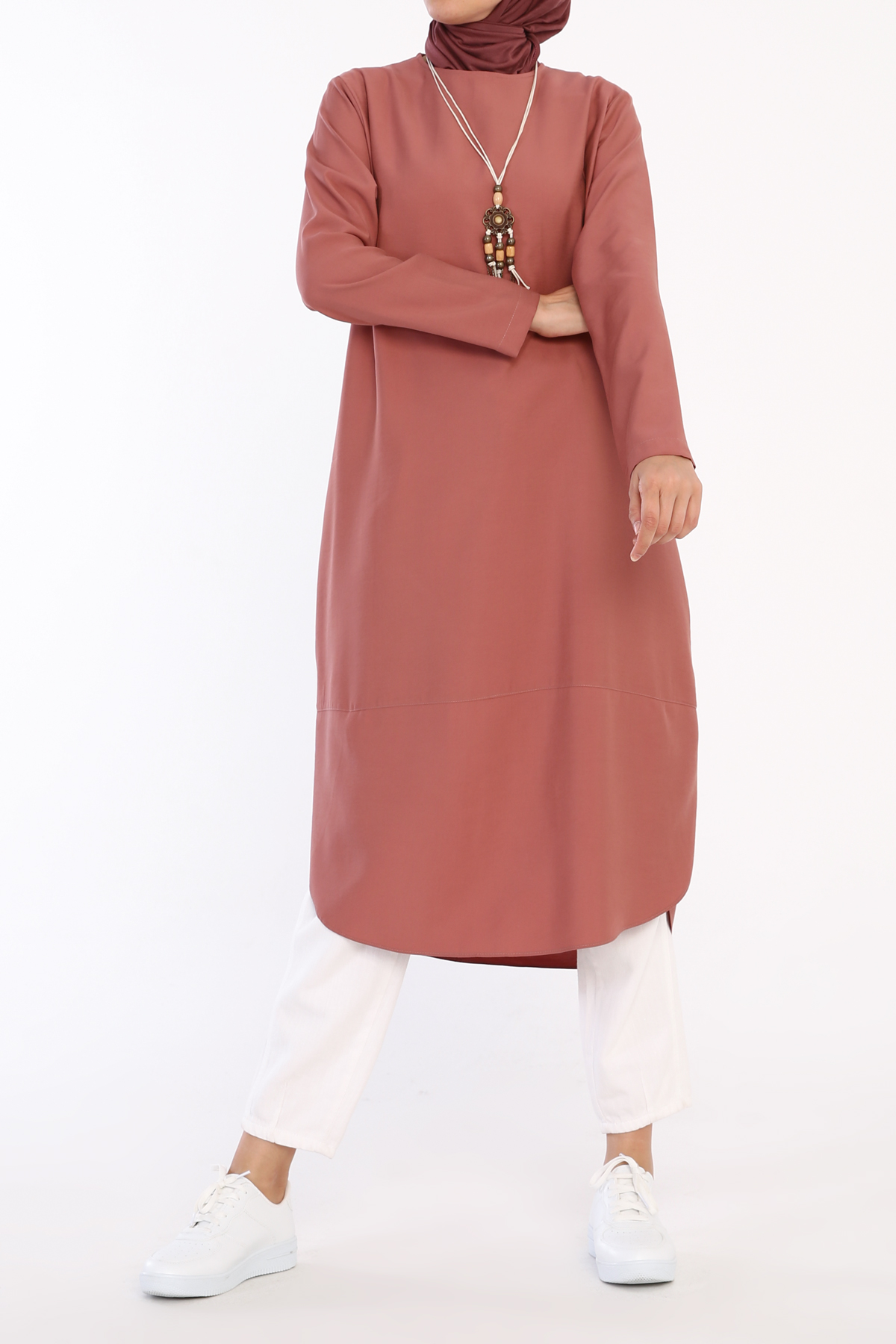 Comfy Asymmetric Tunic With Self Necklace