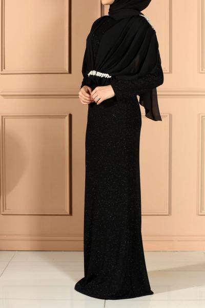 LINED HIJAB EVENING DRESS