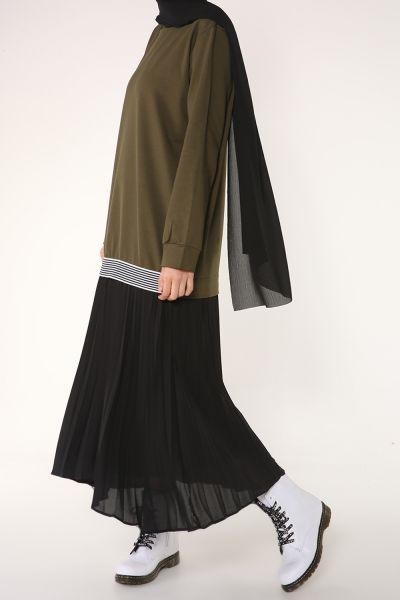 Astarlı Pliseli Elbise