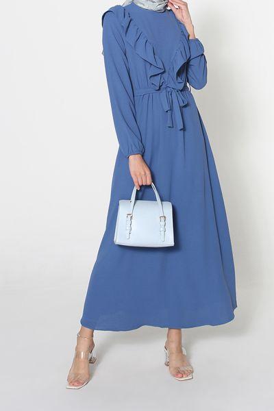 Ayrobin Fırfırlı Kuşaklı Elbise