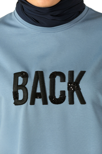 Back Nakışlı Penye Tunik