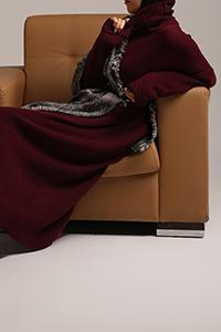 Ribanalı Bağcıklı Düşük Kol Triko Elbise