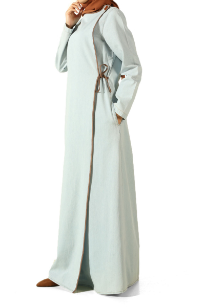 LACE UP DENIM ABAYA