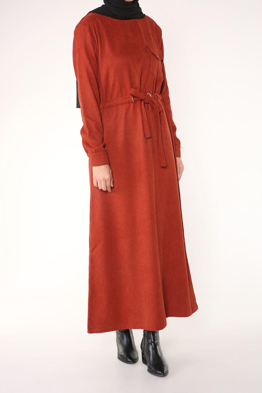 Bağlamalı Cepli Kadife Elbise