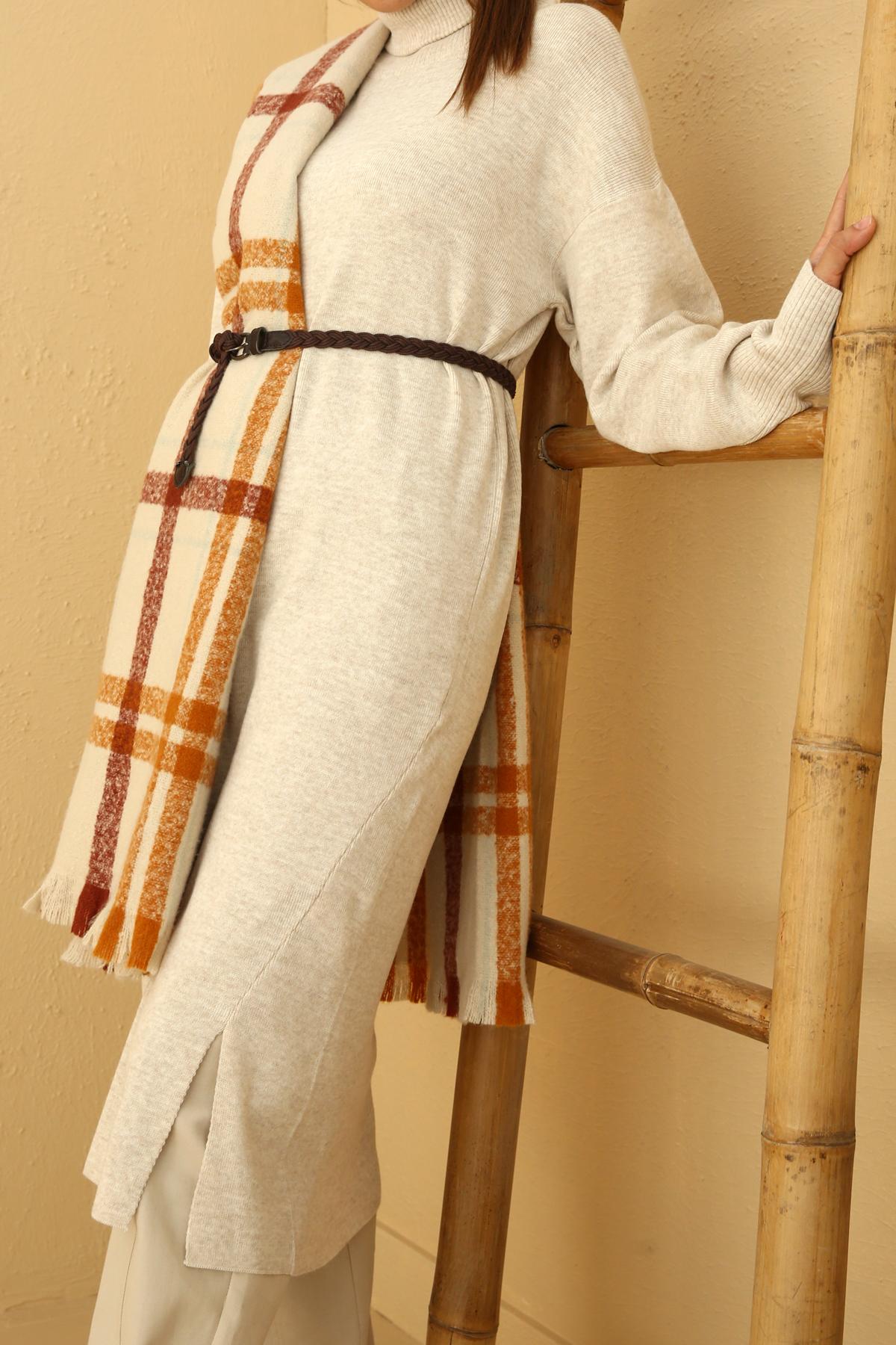 Slit Detailed Turtle Neck Long Knitwear Tunic