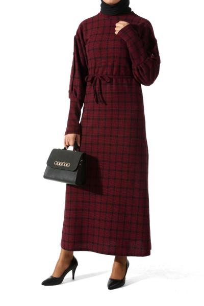 BALLOON SLEEVE PLAID DRESS