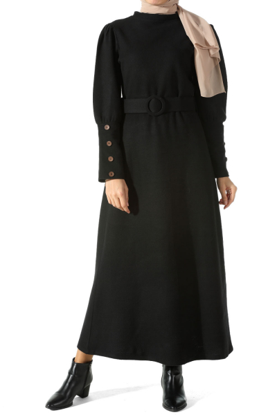 BALLOON SLEEVE BELTED DRESS