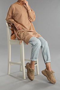 Balloon Sleeve Sweatshirt Tunic
