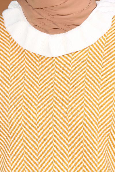 Bolon Kol Çizgi Desenli Triko Tunik