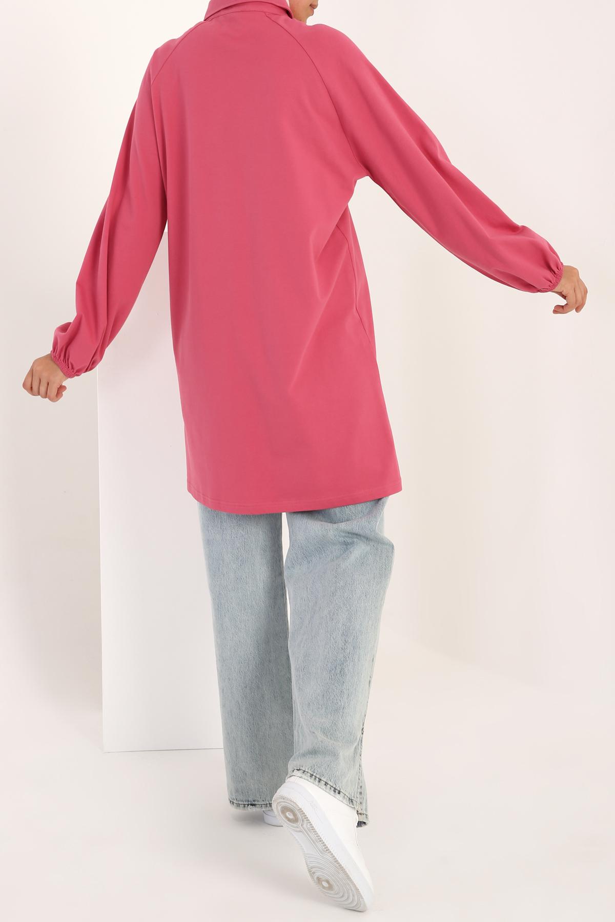 Balloon Sleeve Cotton Shirt Tunic