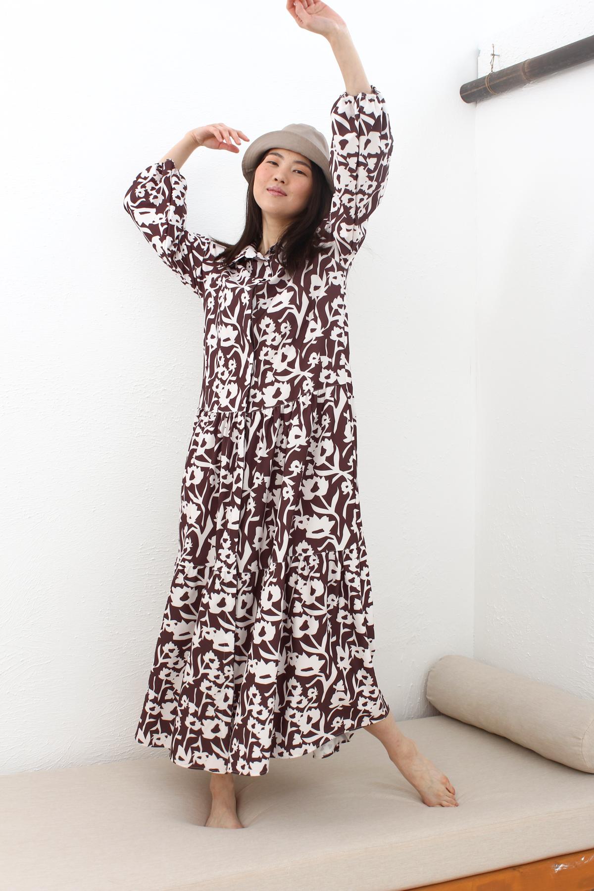 Bishop Sleeve A-Line Printed Dress