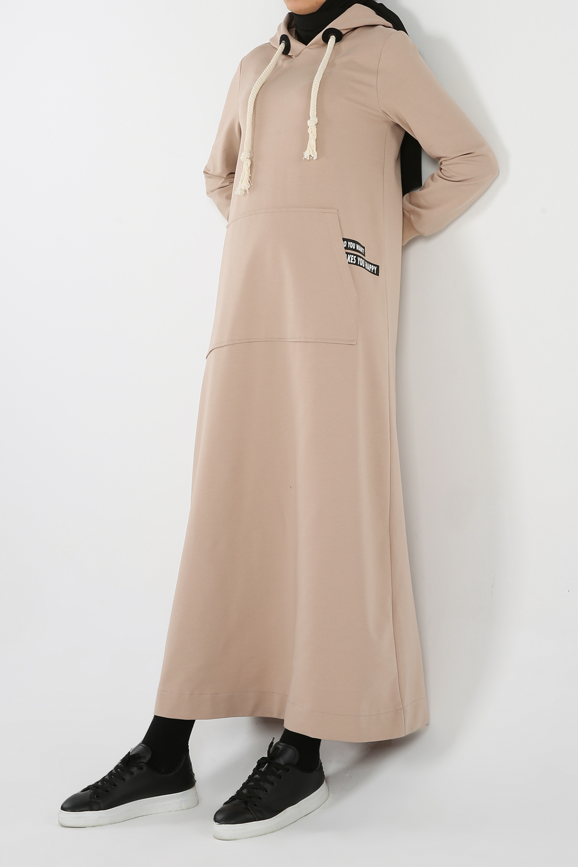 Hooded Kangaroo Pocket Maxi Dress