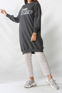Raglan Sleeve Printed Sweatshirt Tunic
