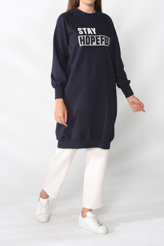 Raglan Sleeve Printed Sweatshirt Tunic