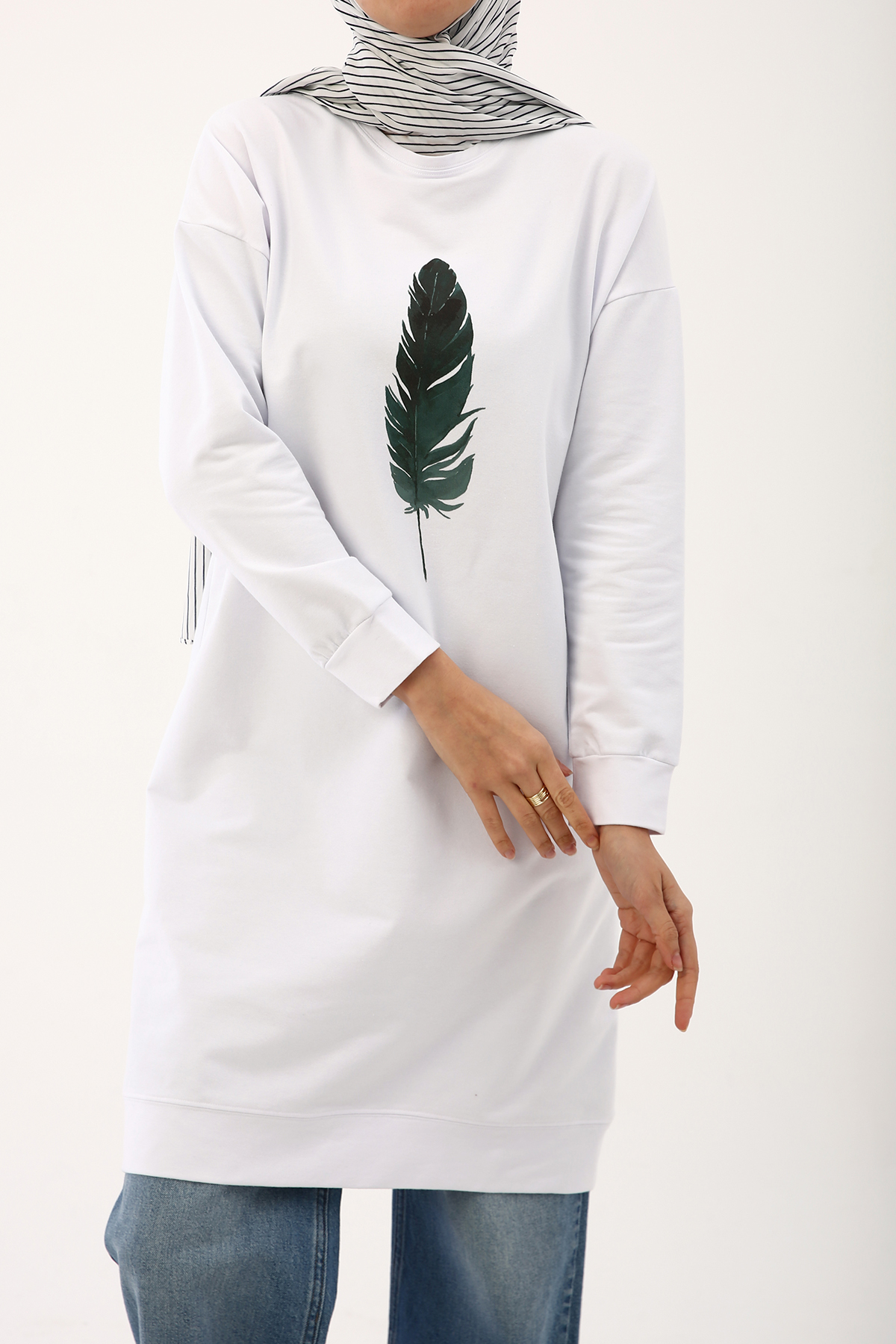 Feather Printed Long Tunic