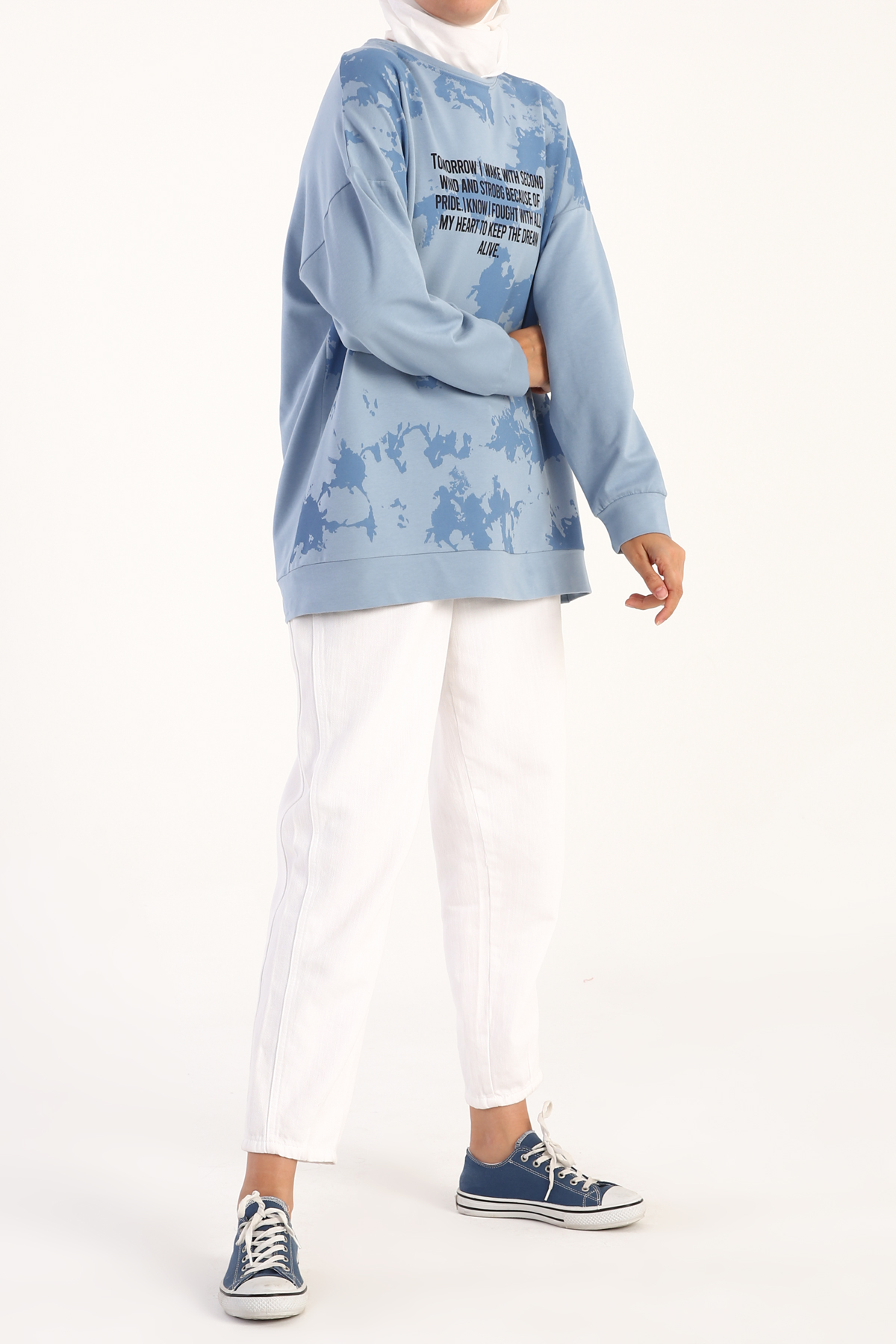 Tie-Dye Slogan Printed Sweatshirt
