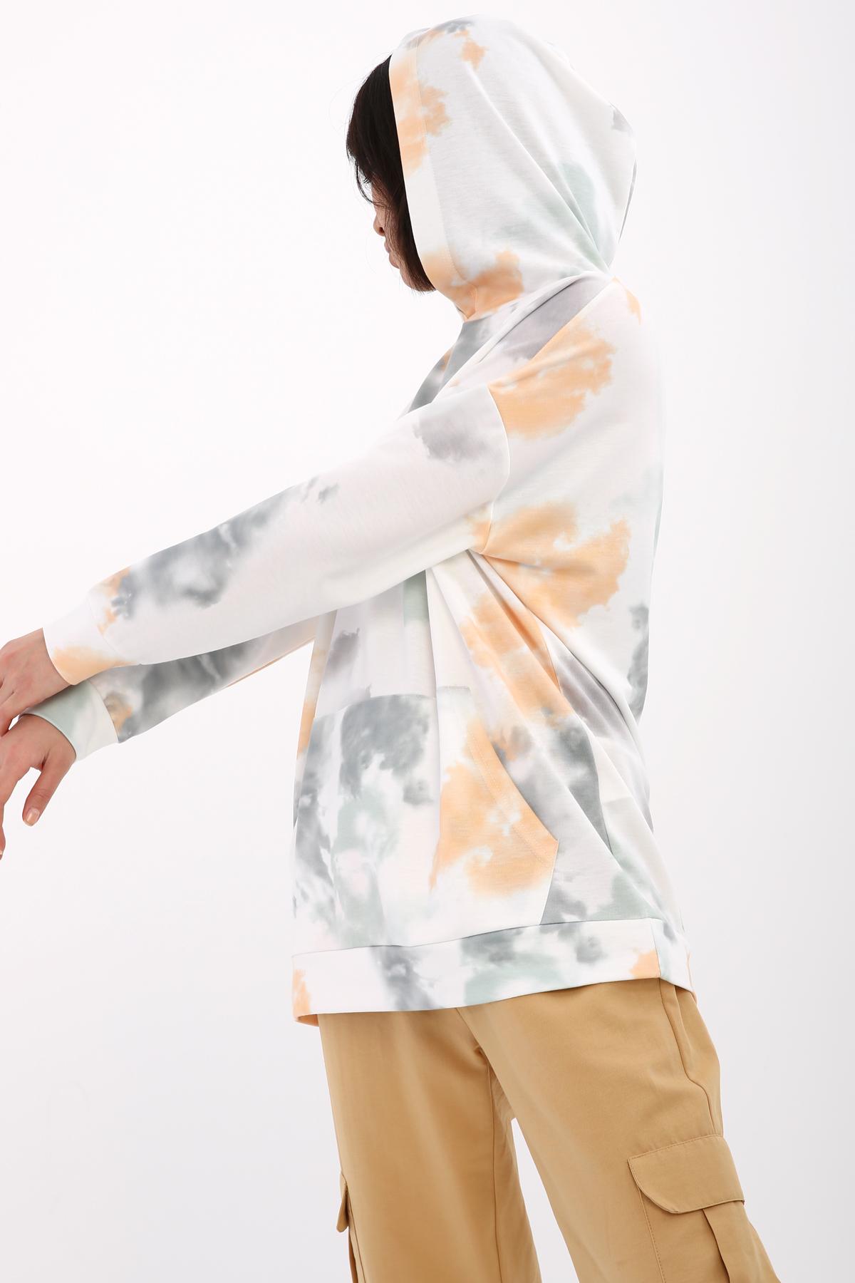 Tie-Dye Printed Hooded Sweatshirt