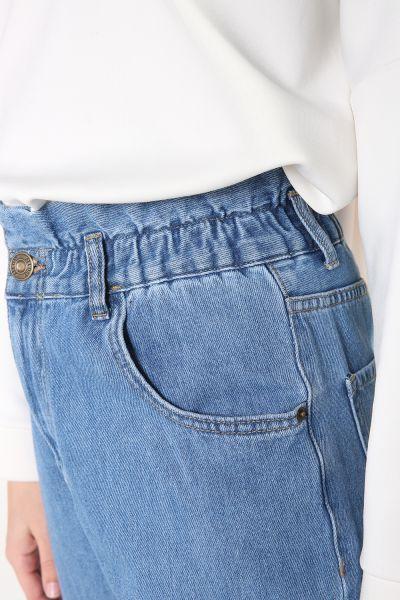 Bel Büzgülü Cepli Denim Pantolon