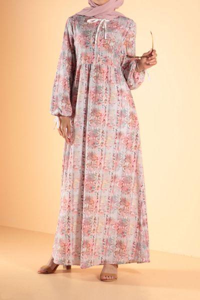 Bel Büzgülü Desenli Elbise