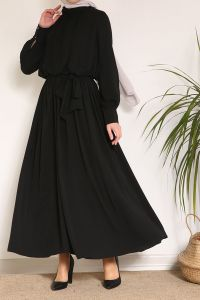 Bel Büzgülü Kuşaklı Salaş Elbise