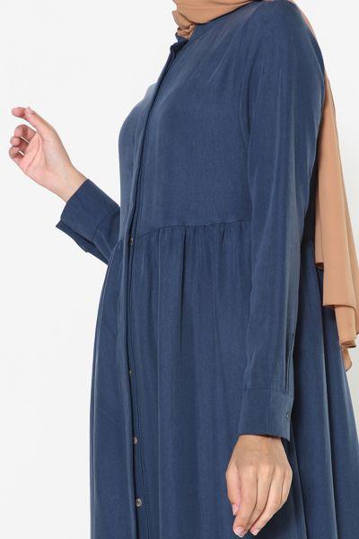 Bel Büzgülü Tensel Elbise