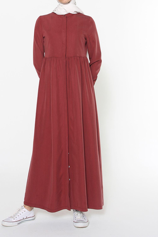 Hidden Buttoned Tent Model Long Dress