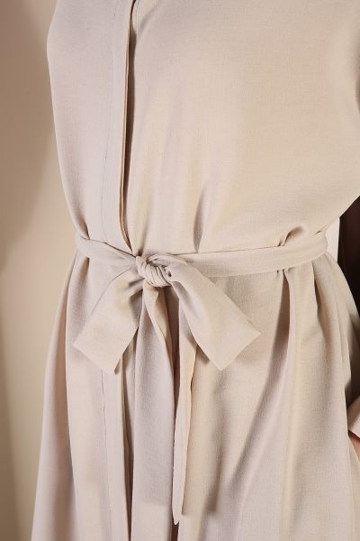 Bel Kuşaklı Cepli Elbise