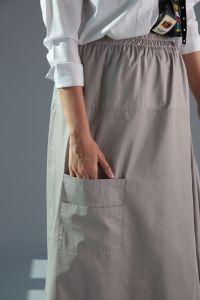 Elastic Waist Pocket Asymmetric Skirt