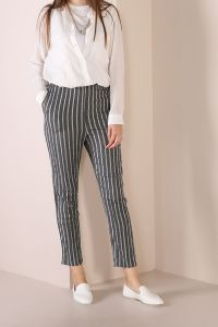 Elastic Waist Pocket Striped Hijab Pants