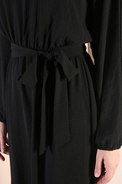 Bel Lastikli Kuşaklı Midi Boy Elbise
