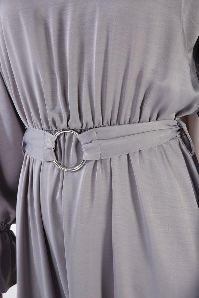 Bel Lastikli Kuşaklı Elbise