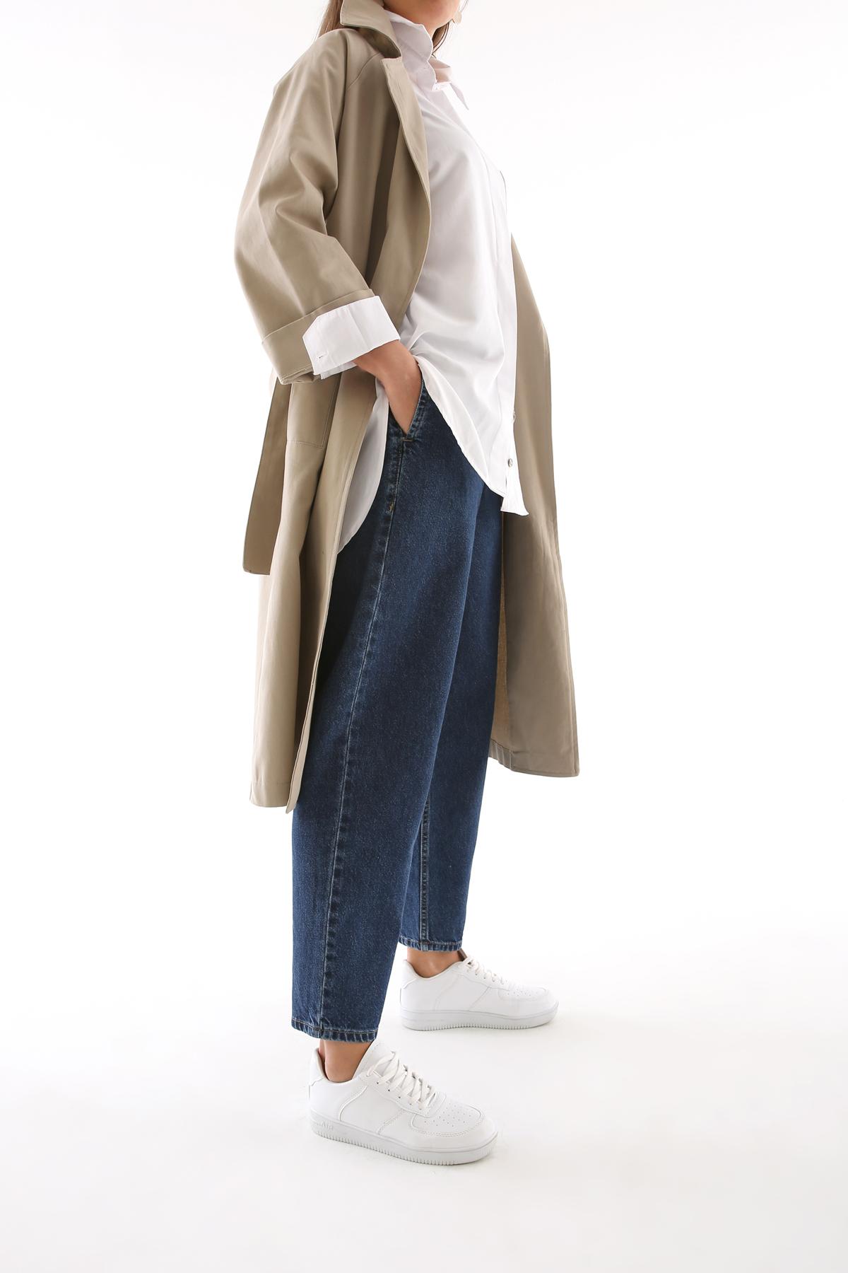 Zippered Elastic Waist Mom Pants