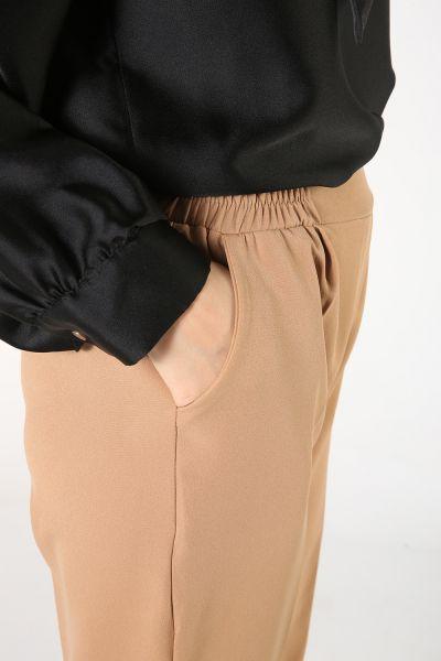 Bel Lastikli Paça Katlamalı Pantolon